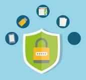 Privatleben- und Sicherheitssystemgraphikikonen Stockfoto