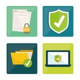 Privatleben- und Sicherheitssystemgraphikikonen Stockbild
