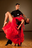 Professional ballroom dance couple preform an exhibition dance Royalty Free Stock Photography