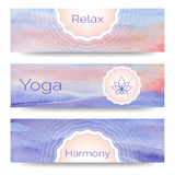 Professional banner templates or banner design for yoga studio Royalty Free Stock Photography
