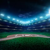 Professional baseball grand arena in night Stock Photo