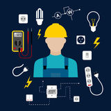 Professional electrician with electric tools and Royalty Free Stock Photos