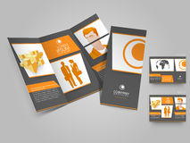 Professional trifold brochure, catalog and flyer template for bu Royalty Free Stock Photography