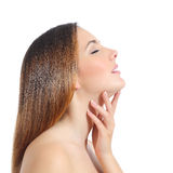 Profile of a beautiful woman with perfect skin and manicure Royalty Free Stock Photography