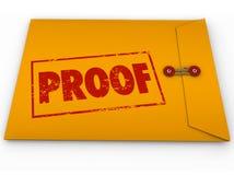 Proof Word Yellow Envelope Verification Evidence Testimony Royalty Free Stock Photos