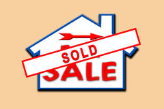 Property sold sign. Royalty Free Stock Photography