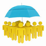 Protection concept, umbrella and human icons Stock Images
