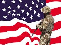 Proud American soldier vector Stock Photos