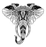 Psychedelic elephant head tattoo. Psychedelic elephant head tattoo. Royalty Free Stock Image