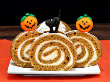 Pumpkin Roll Cake decorated for Halloween Royalty Free Stock Photography