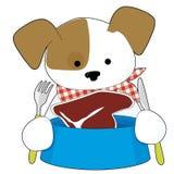 Puppy Eating Steak Royalty Free Stock Image