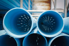 PVC Screen Pipe / Well Casing Pipes Royalty Free Stock Photos