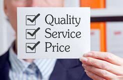 Quality, Service and Price  Stock Photo