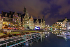 Quay Graslei in Ghent town at evening, Belgium Stock Images