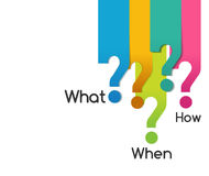 Question symbol of what when where why who how, analysis diagram Royalty Free Stock Photos