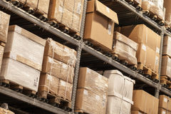 Racks with boxes are in storage Stock Photos
