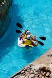 Rafting in an amusement aqua park Royalty Free Stock Photo