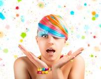 Rainbow colorful fashion makeup Stock Photography