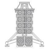 Rayez l'acoustique de concert de rangée sur l'illustration de suspension de botte Photos libres de droits