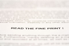 Read the fine print Royalty Free Stock Photo
