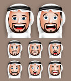 Realistic Saudi Arab Man Head with Different Facial Expressions Royalty Free Stock Photography