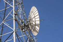 Receiving Dish on Telecommunication Tower. Stock Photo