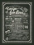 Recipe for love chalkboard Wedding Invitation card Royalty Free Stock Image