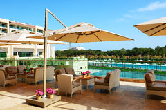 The recreation chairs on terrace at luxury hotel Stock Photo
