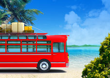 Red bus adventure on beach Stock Photography