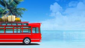 Red bus adventure on beach Royalty Free Stock Photos