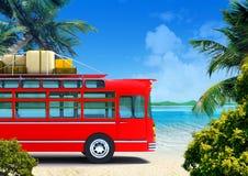 Red bus adventure on beach Stock Image