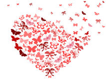Red butterfly flying heart Royalty Free Stock Photos