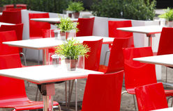 Red chairs cafe Royalty Free Stock Photos