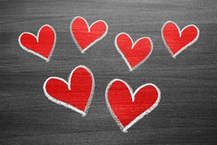 Red chalk heart shapes Stock Photo