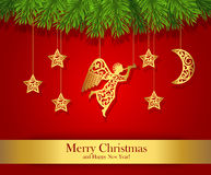 Red Christmas greeting card decorated with gold angel Royalty Free Stock Photos