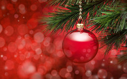 Red Christmas Tree Scene Background Royalty Free Stock Photography