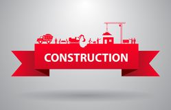 Red construction banner Royalty Free Stock Photos