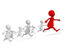 Red 3d leader man of human race. success winning Royalty Free Stock Photo