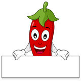Red Hot Chili Pepper Holding Banner Royalty Free Stock Photos