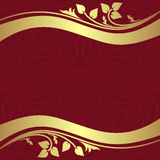 Red  ornamental Background with golden floral Borders. Royalty Free Stock Images