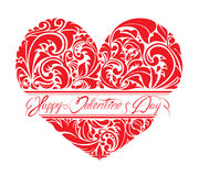 Red ornamental floral heart with calligraphic text Royalty Free Stock Photography