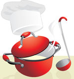 Red pan with porridge. Meal time Royalty Free Stock Image