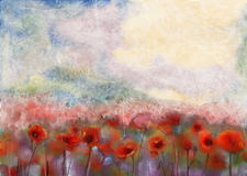 Red poppy flowers filed  water color painting Royalty Free Stock Photos