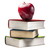 Red Shiny Apple Stack Book Books Colored Isolated Royalty Free Stock Photo