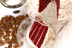 Red Velvet Cake and Pecans Royalty Free Stock Image