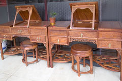Red wood furniture selling Stock Photography