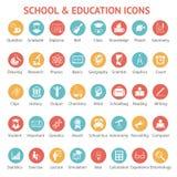Reeks school en onderwijspictogrammen Stock Foto