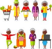 Reeks van vectorillustratie een groep oude vrouw in verschillende situaties Royalty-vrije Stock Afbeelding