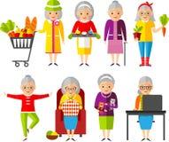 Reeks van vectorillustratie een groep oude vrouw in verschillende situaties Royalty-vrije Stock Afbeeldingen