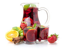 Refreshing sangria (punch) and fruits Royalty Free Stock Photos